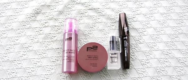 haul p2 perfect face primer and fixing makeup spray p2 loose powder p2 quick dry nails spray p2 volume mascara