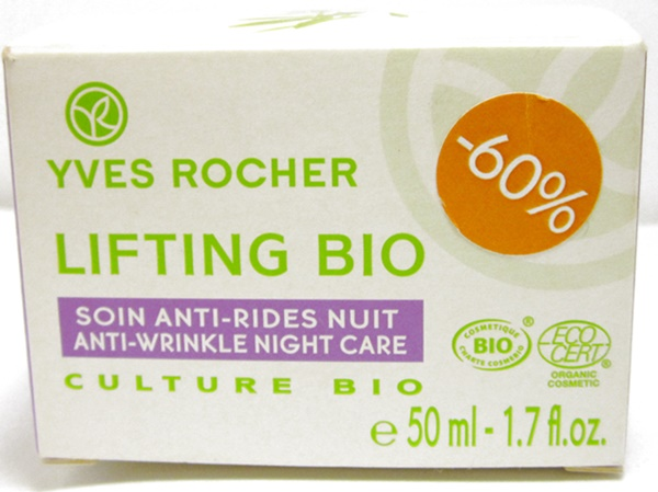 yves rocher anti wrinkle night alfalfa face cream packaging box