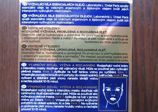 czech slovak l'oreal night cream extraordinary oil nutri gold