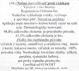 yves rocher anti wrinkle nightalfalfa face cream post slovak label
